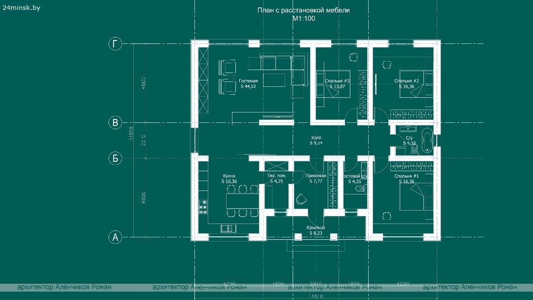 проект дома 15х12, проект незаконченного строения, коттедж