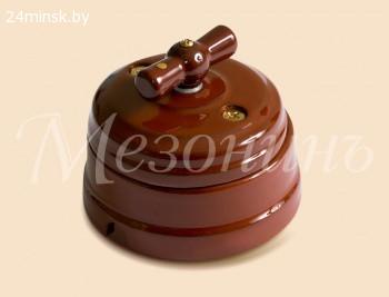 Выключатель фарфоровый поворотный Mezonin 1-кл., Коричневый